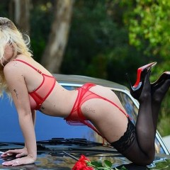 lingerie red girl and car 228199924