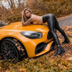 mercedes yellow car and girl 30311158