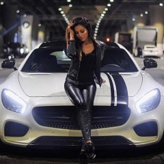 mercedes sport gt car and girl 23099918