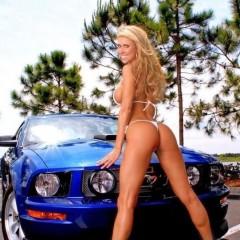 blue mustang car girl 6500999